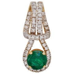 18 Karat Gold Zambian Round Emerald Diamond Pendant Necklace