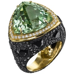 Green Prasiolite Spinel Black Diamond Triangle Cocktail Ring 18k Yellow Gold