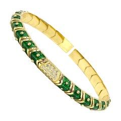 18 Karat Green Enamel and Diamond Hidalgo Oval Cuff Bracelet