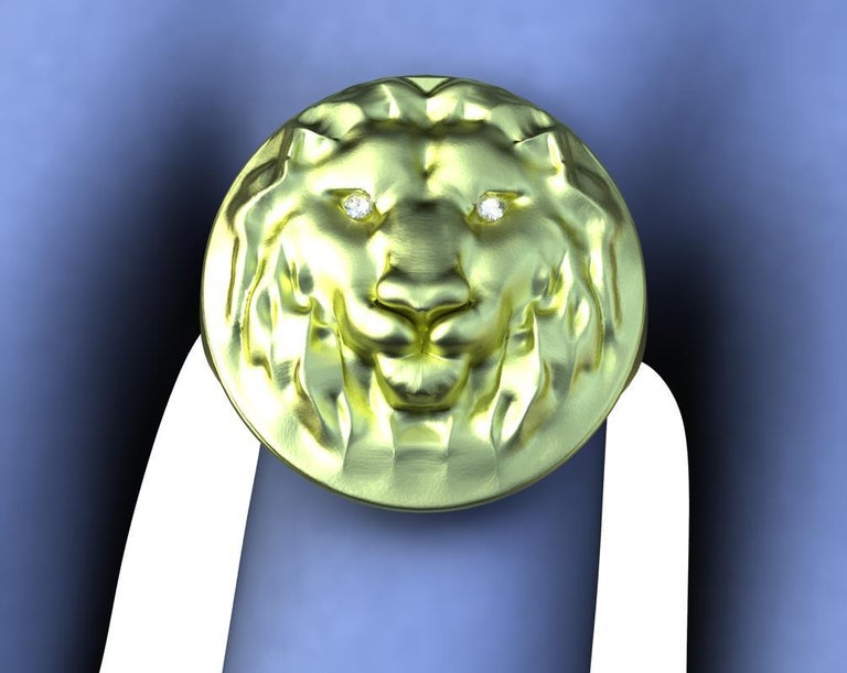 Tiffany designer, Thomas Kurilla created this  18k Green Gold Lion Diamond Lion Head Signet Ring . High polished  and hand sculpted. The king of the jungel , fearless and brave. Diamonds added for the eyes to make it come alive!   Made to order ,
