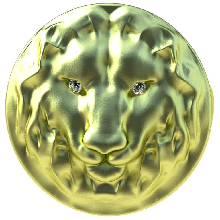 18 Karat Green GIA Diamond Lion Head Signet Ring For Sale