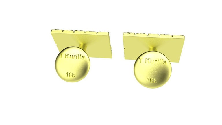 Contemporary 18 Karat Green Gold Cufflinks For Sale