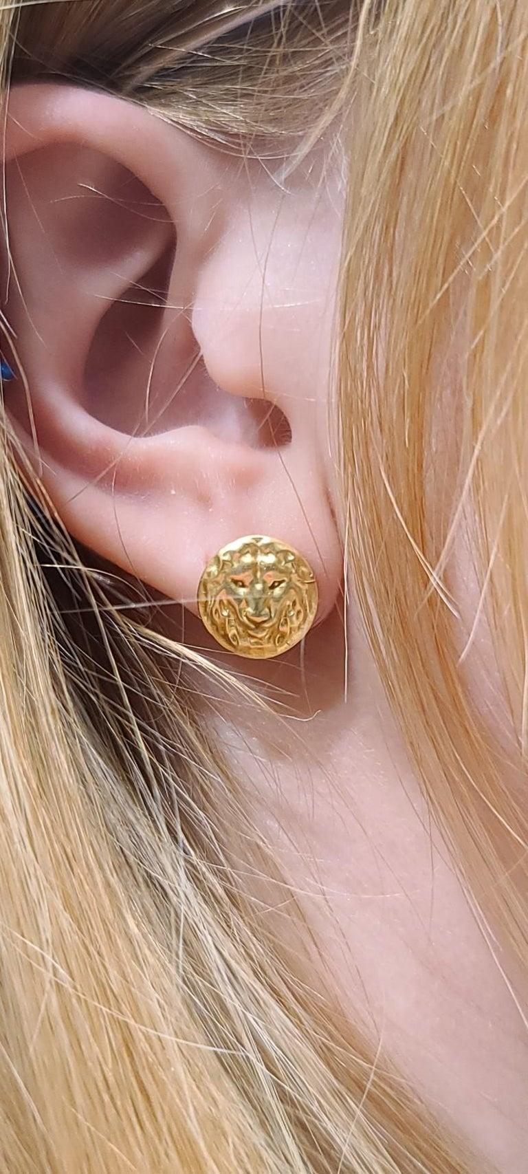 18 Karat Green Gold Lion Stud Earrings For Sale 2