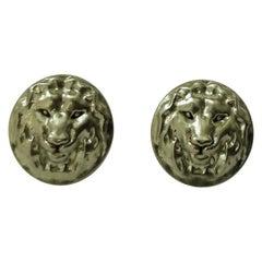 18 Karat Green Gold Lion Stud Earrings