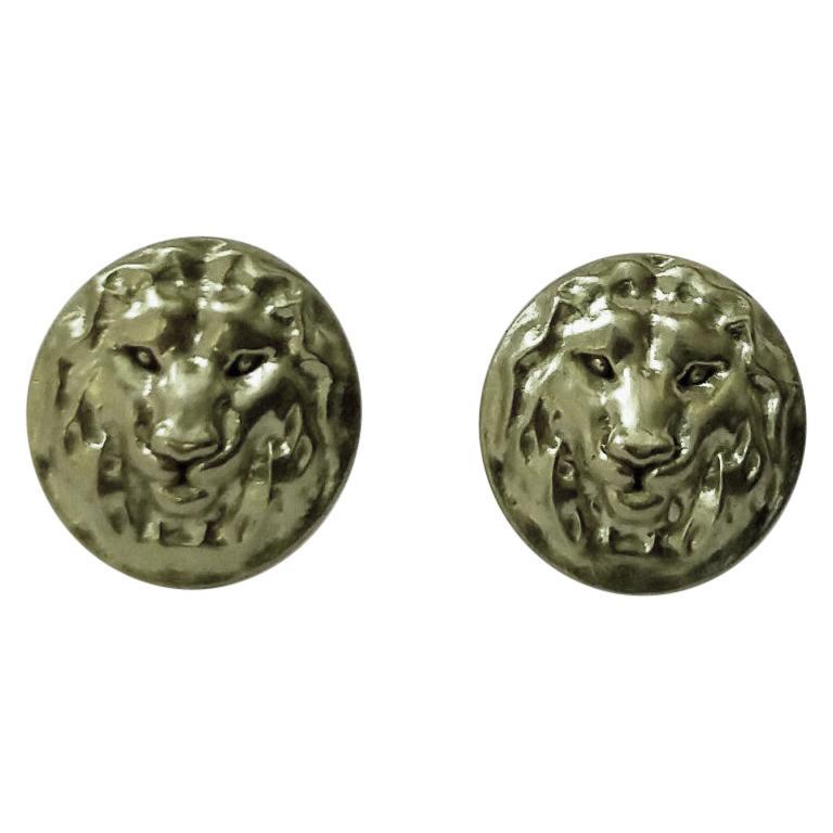18 Karat Green Gold Lion Stud Earrings For Sale