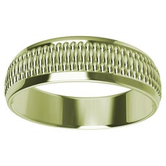 18 Karat Green Gold Milgrain Polished Unisex Wedding Band