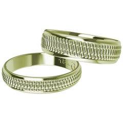18 Karat Green Gold Polished Millgrain Wedding Bridal Set