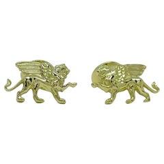 18 Karat Green Gold Winged Griffin Cufflinks