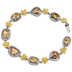 18 Karat Grey Gold Rose Cut Bracelet with White and Fancy Yellow Diamonds