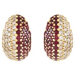 18 Karat Half Diamonds Half Ruby Clip-On Earrings