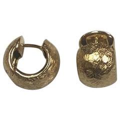 18 Karat Hammered Gold Huggy Earrings