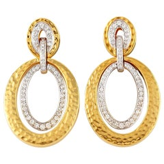 18 Karat Hammered Matte Gold Door Knocker Diamond Earrings