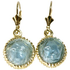 18 Karat Hand Carved Aquamarine Lion Earrings