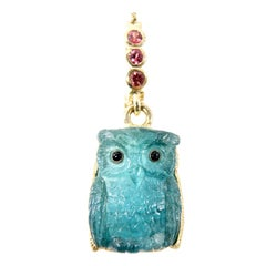 18 Karat Hand Carved Blue Tourmaline and Sapphire Owl Pendant