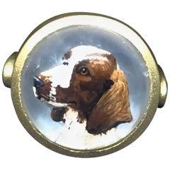 18 Karat Hand-Carved Crystal Dog Ring