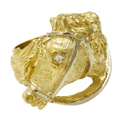 18 Karat Hand Carved Gold Horse Head Ring