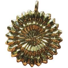 18 Karat Hand Carved Gold Medallion Pendant Necklace