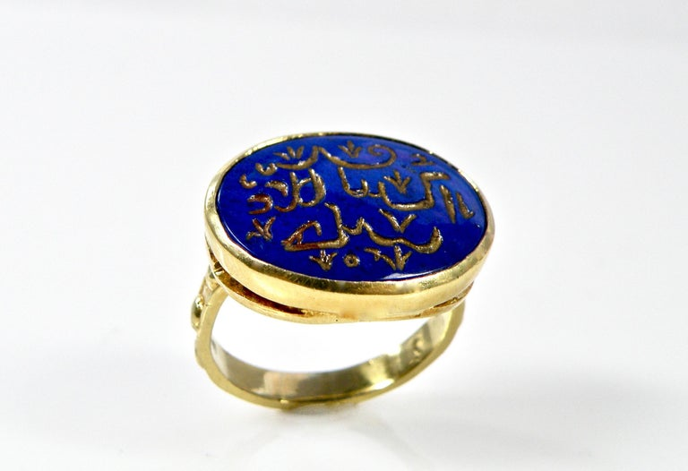 18 Karat Hand Carved Lapis Lazuli Engraved Gold Prayer Ring In New Condition For Sale In Cohasset, MA