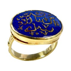 18 Karat Hand Carved Lapis Lazuli Engraved Gold Prayer Ring
