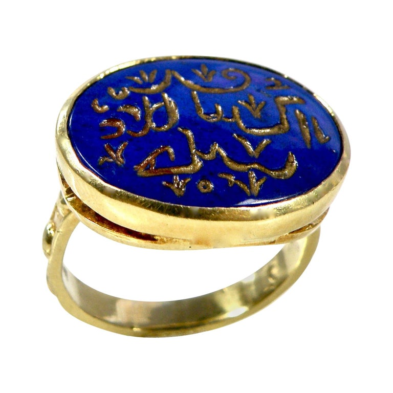 18 Karat Hand Carved Lapis Lazuli Engraved Gold Prayer Ring For Sale