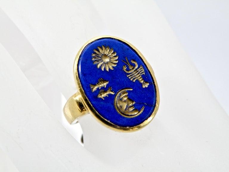 Modern 18 Karat Hand Carved Lapis Lazuli Ring For Sale
