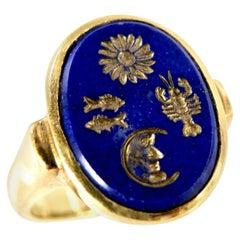 18 Karat Hand Carved Lapis Lazuli Ring