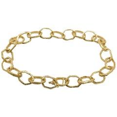 18 Karat Hand Carved Small Link Bracelet