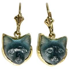 18 Karat Hand Carved Tourmaline Cat Earrings