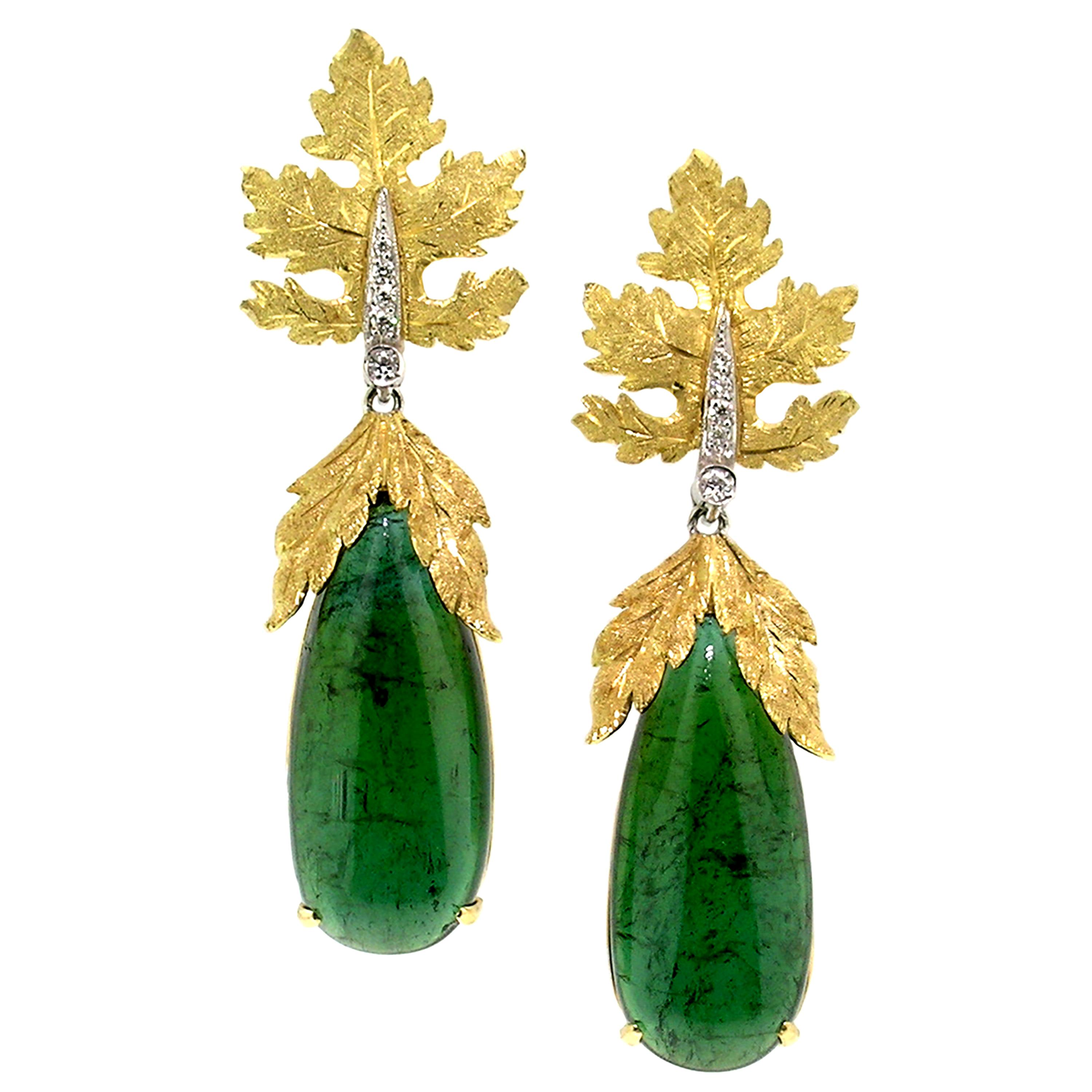 35.49ct Green Tourmaline 18kt Earrings, Made in Italy by Cynthia Scott