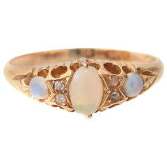 18 Karat Hand Etched Victorian Opal Ring with Diamond Accents