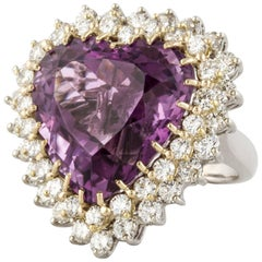 18 Karat Heart Amethyst Ring/Pendant