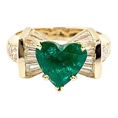 18 Karat Heart Shape Emerald and Diamond Ring