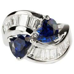 18 Karat Heart Shape Sapphire Bypass Ring
