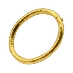 18 Karat Heavy Gold Hammered Bangle Bracelet
