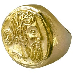 18 Karat Heavyweight Greek God Dionysus Ring