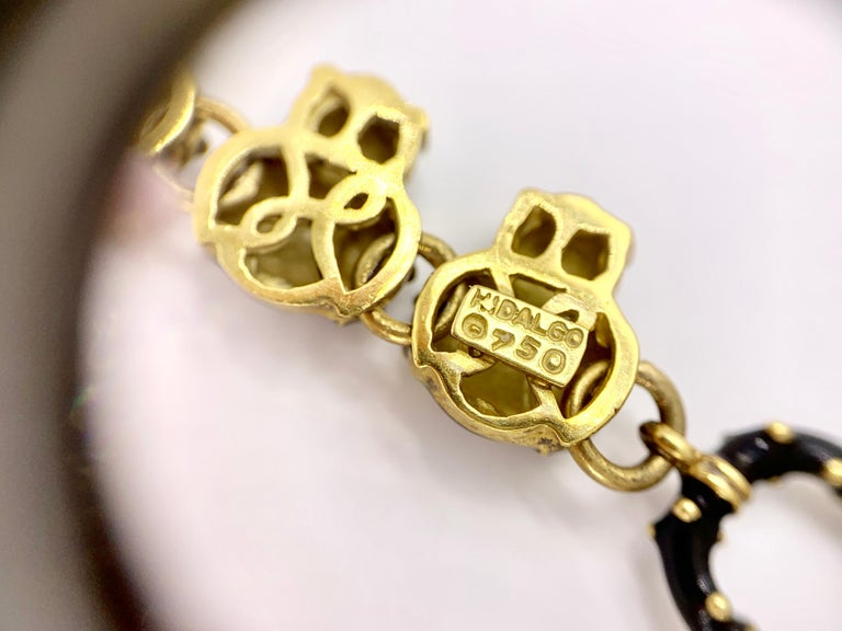 18 Karat Hidalgo Enamel and Diamond Owl Bracelet For Sale 6
