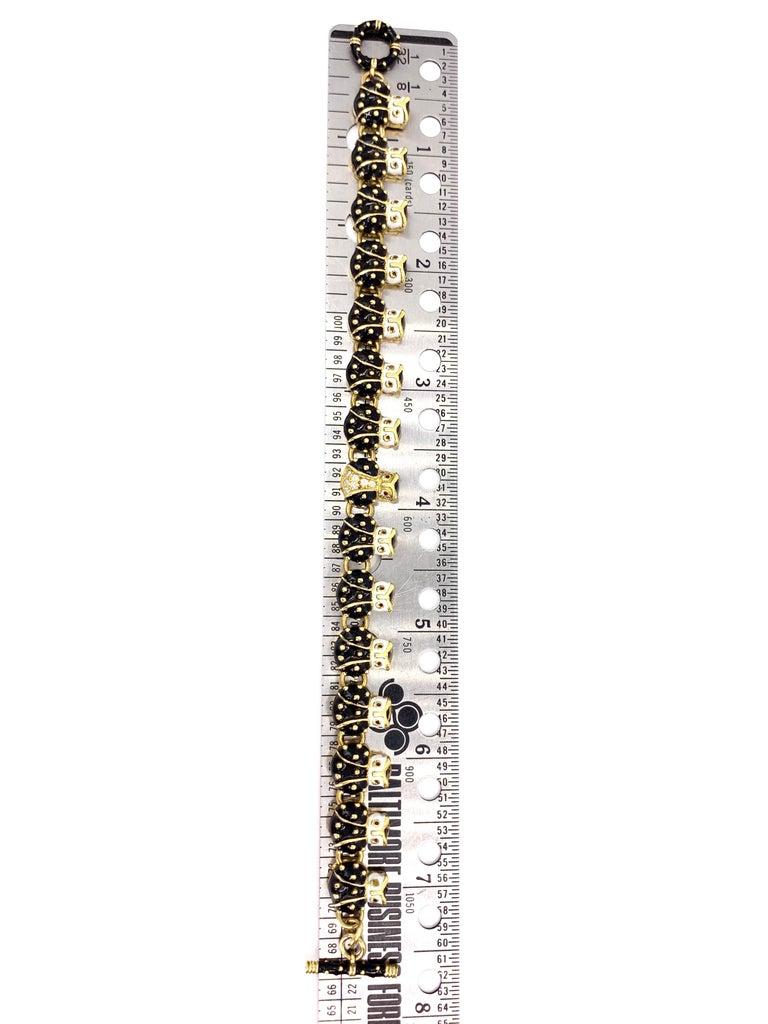 Women's 18 Karat Hidalgo Enamel and Diamond Owl Bracelet For Sale