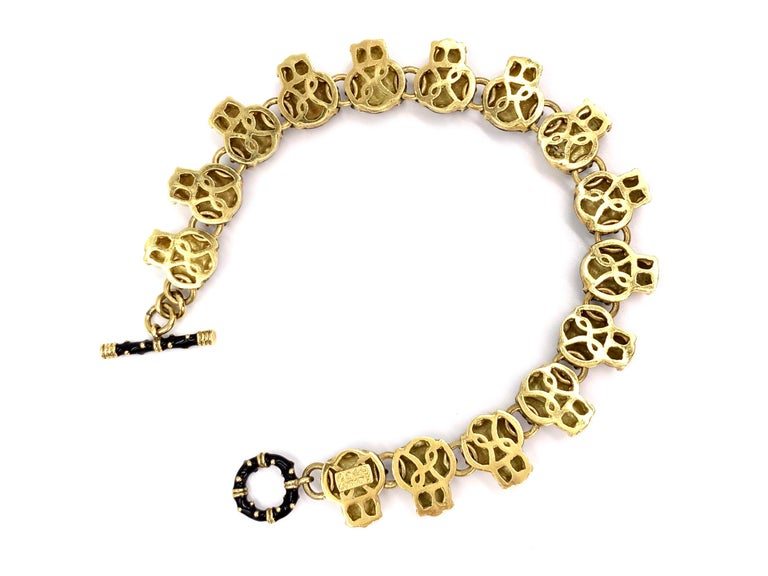 18 Karat Hidalgo Enamel and Diamond Owl Bracelet For Sale 1