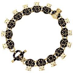 18 Karat Hidalgo Enamel and Diamond Owl Bracelet