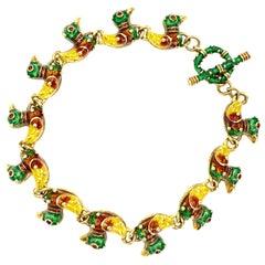 18 Karat Hidalgo Enamel Duck Bracelet