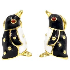 18 Karat Hidalgo Enamel Penguin Earrings