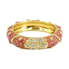 18 Karat Hidalgo Pink Enamel and Diamond Band Ring