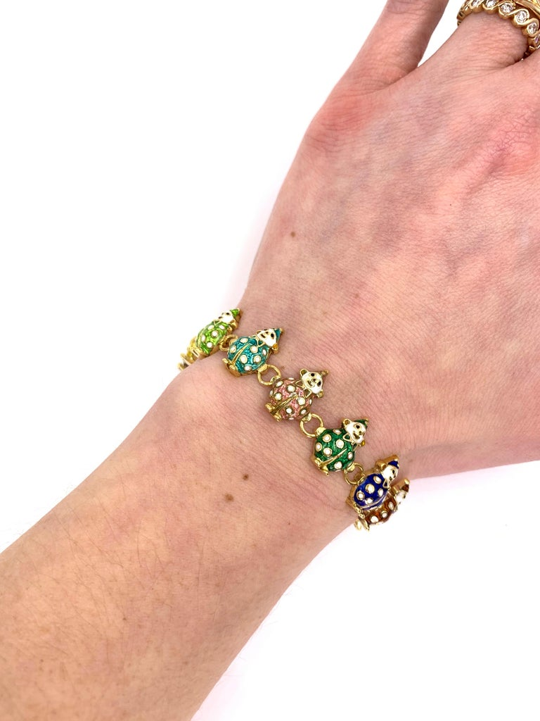 18 Karat Hidalgo Rainbow Enamel Clown Bracelet For Sale 6