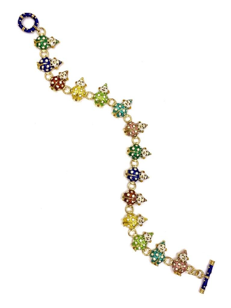 18 Karat Hidalgo Rainbow Enamel Clown Bracelet In New Condition For Sale In Pikesville, MD