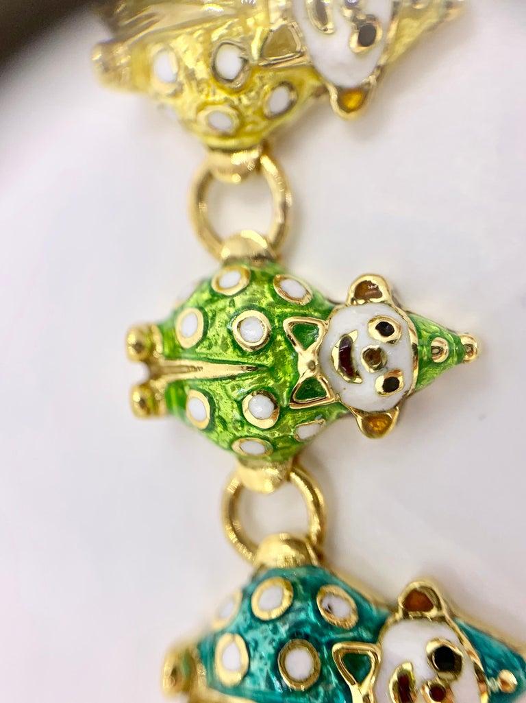 18 Karat Hidalgo Rainbow Enamel Clown Bracelet For Sale 2