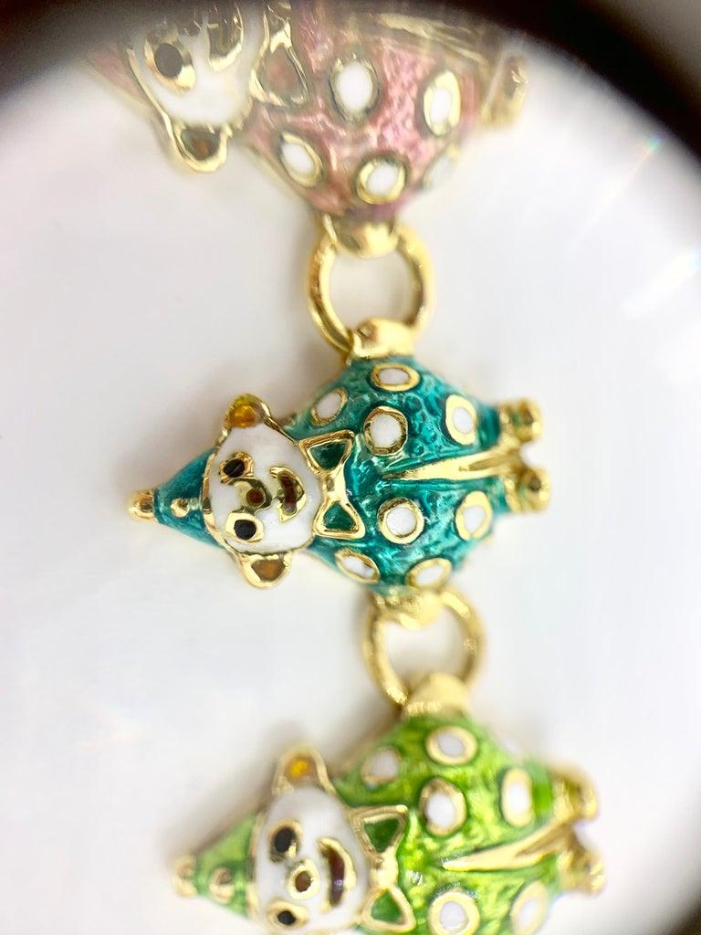 18 Karat Hidalgo Rainbow Enamel Clown Bracelet For Sale 5