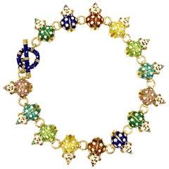 18 Karat Hidalgo Rainbow Enamel Clown Bracelet