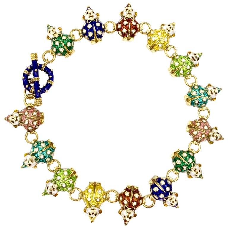 18 Karat Hidalgo Rainbow Enamel Clown Bracelet For Sale