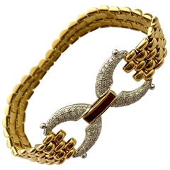 18 Karat Hite and Yellow Gold Bracelet, Set with Ruby and Diamonds Germany, 1970