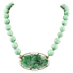 18 Karat Imperial Jade, Pearl, Beaded Necklace with Hand Carved Pendant